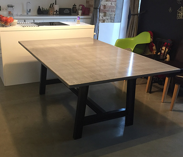 Concrete dining table Tabletop Hibeton 1800x1200x30mm Surface - natural, sealed & waxed Legs - painted steel IPN80